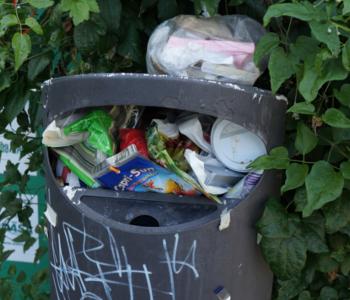 Voller Müll·eimer