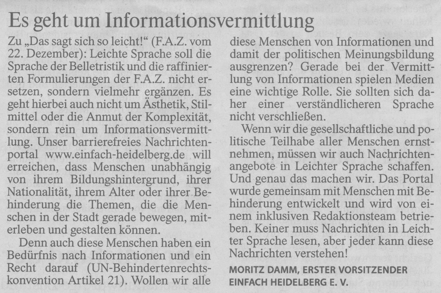 Leserbrief Einfach Heidelberg