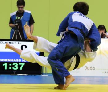 Nikolai Kornhaß bei einem Judo·kampf