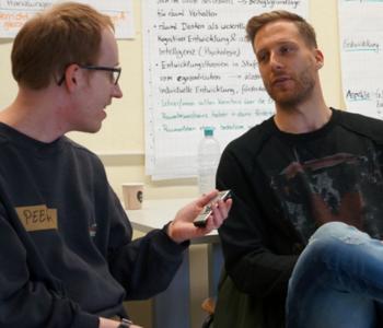 Oliver Baumann in der Redaktion von Einfach Heidelberg