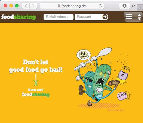 Internetseite von Foodsaver