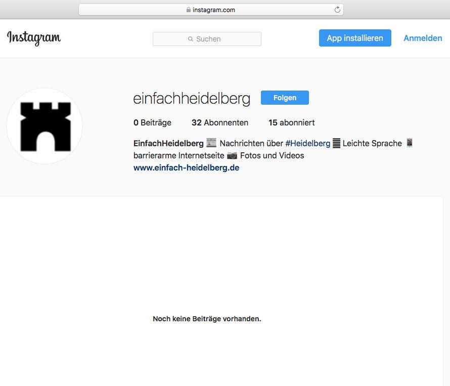 Die Instagram-Seite von Einfach Heidelberg