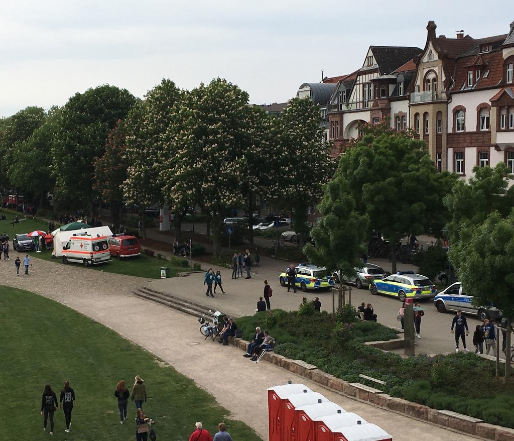 Polizei an der Neckarwiese