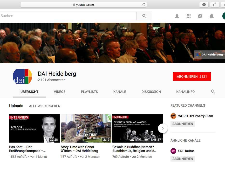 Youtube-Kanal vom DAI Heidelberg
