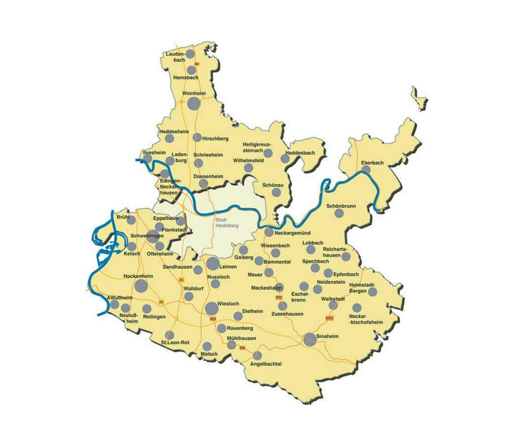 Karte Rhein-Neckar-Kreis