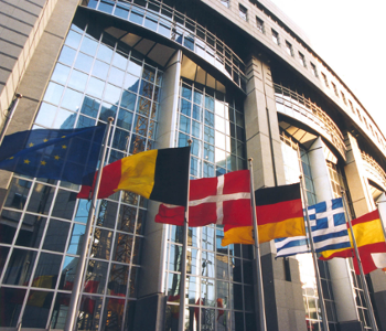 Flaggen vor EU-Parlament