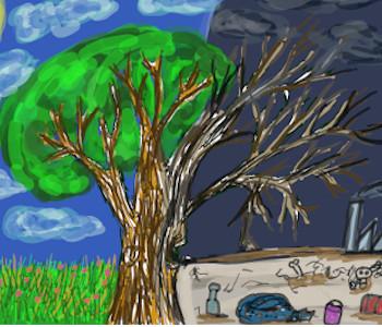 Gemaltes Bild von einem Baum, der sich durch Klimawandel verändert