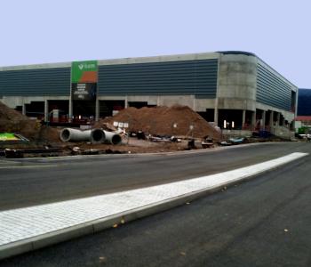 Bauarbeiten an der Sporthalle