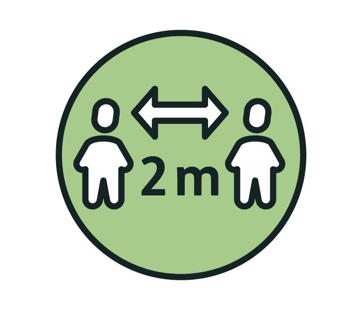 Die Zeichnung zeigt: 2 Meter Abstand zu anderen Menschen halten!