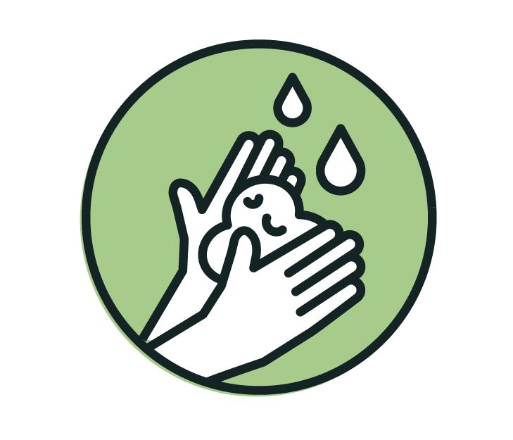 Die Zeichnung zeigt: Oft und gründlich die Hände waschen!