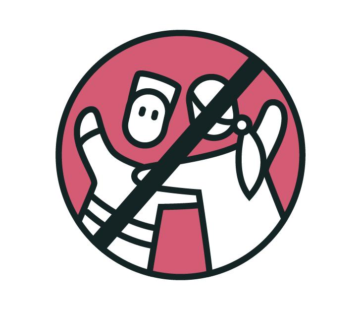 Die Zeichnung zeigt: Keine anderen Menschen umarmen