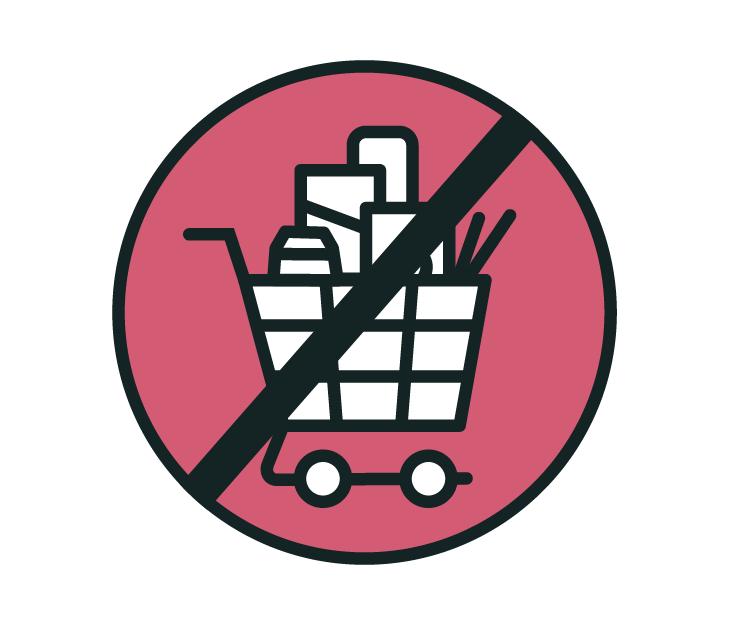 Die Zeichnung zeigt: Nur einkaufen, was man wirklich braucht!