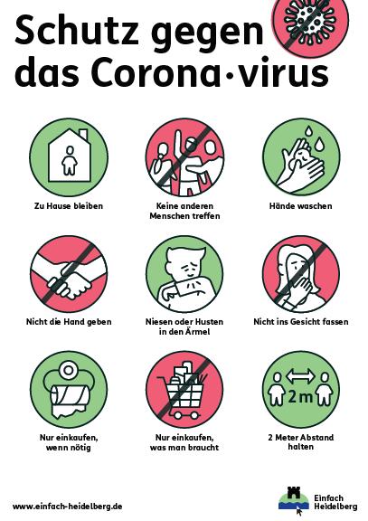 Plakat mit Verhaltenstipps zum Schutz gegen das Coronavirus