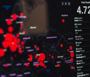 Weltkarte mit Zahlen. Die Karte zeigt: So viele Kranke gibt es in den verschiedenen Ländern