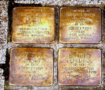 Stolpersteine in goldener Farbe im Boden.